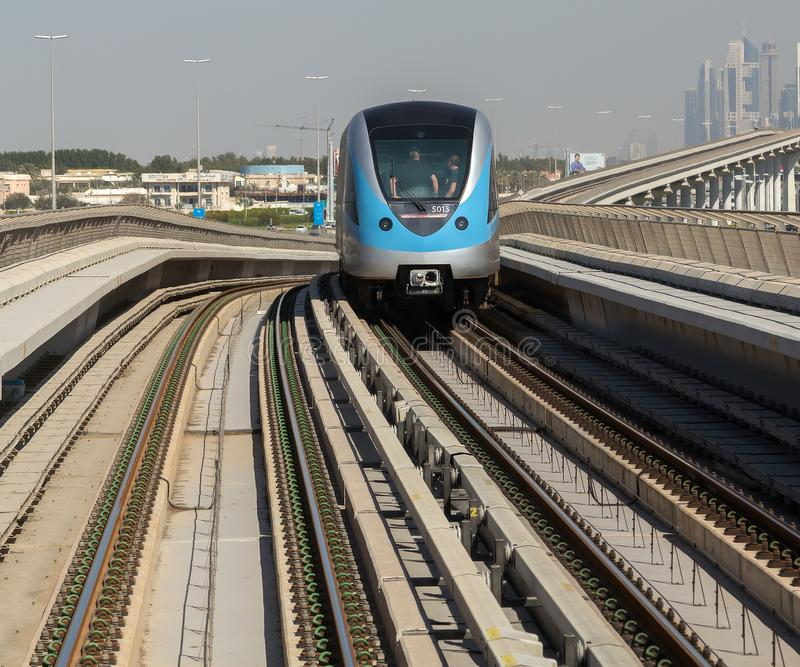 Metro train on the Red line in Dubai. UAE stock photos