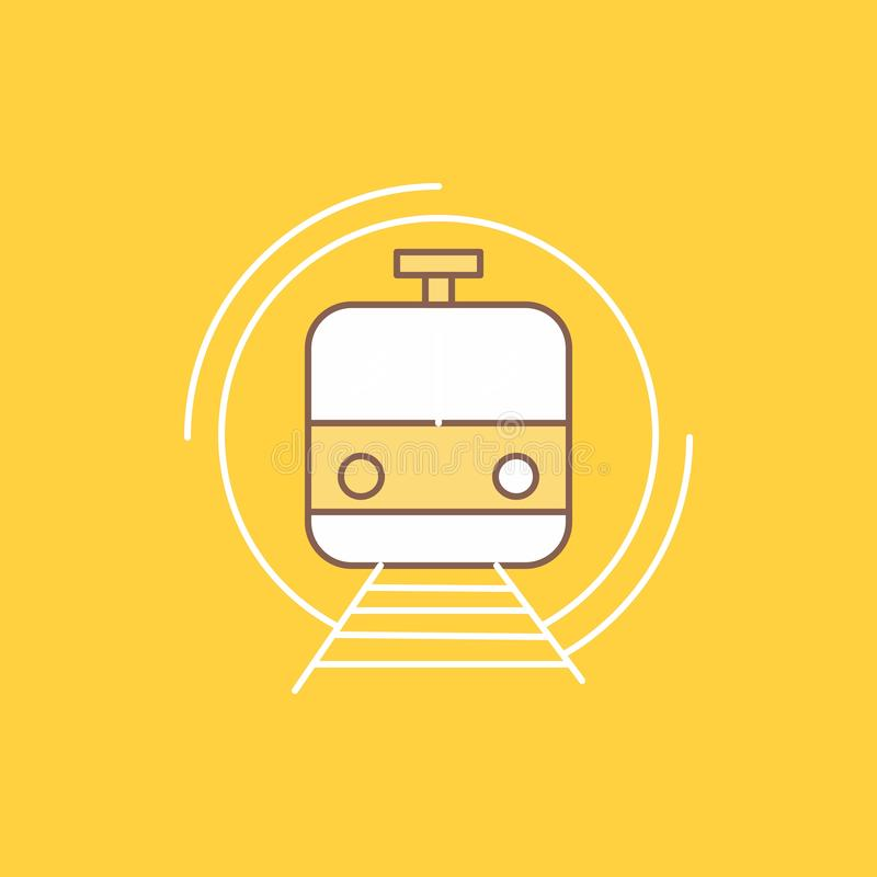 Metro, train, smart, public, transport Flat Line Filled Icon. Beautiful Logo button over yellow background for UI and UX, website. Or mobile application. Vector royalty free illustration
