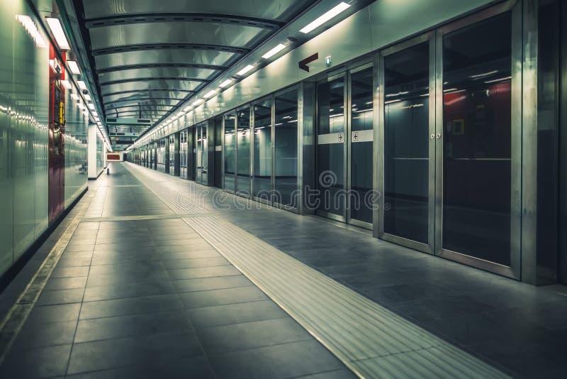 Metro train station. Interior of underground metro train station royalty free stock photo