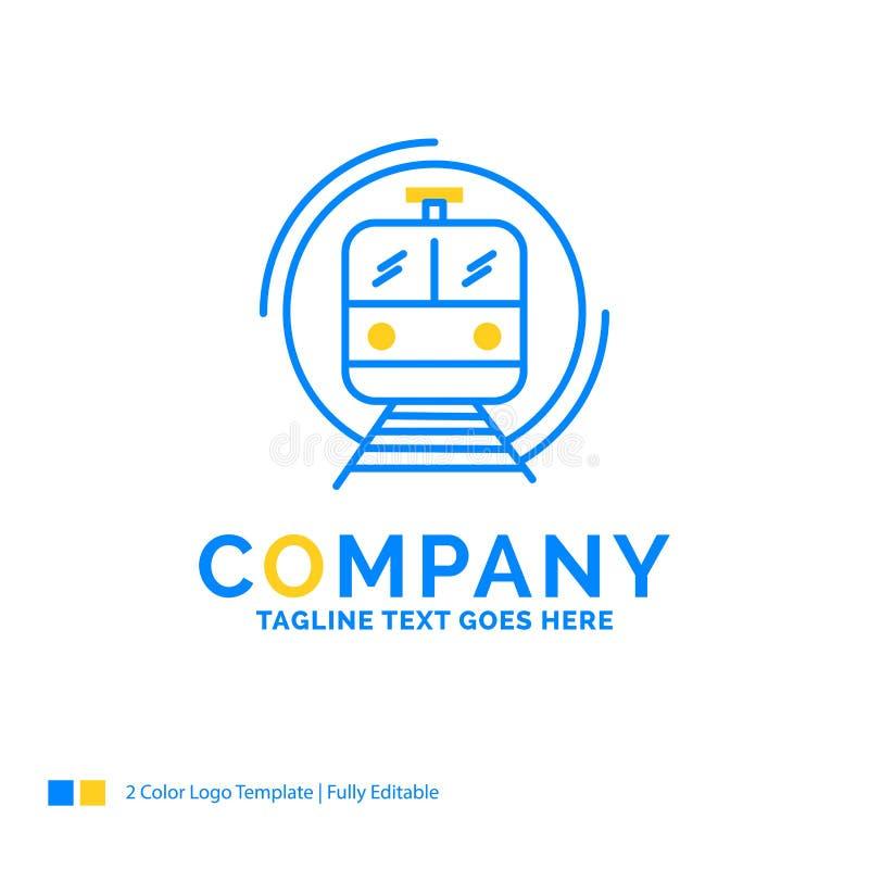 metro, trem, esperto, público, logotipo amarelo azul do negócio do transporte ilustração stock