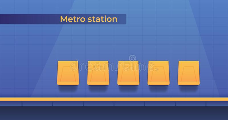 Metro underground station with a platform for landing passengers and seats to wait for the train. Subway platform. vector illustration