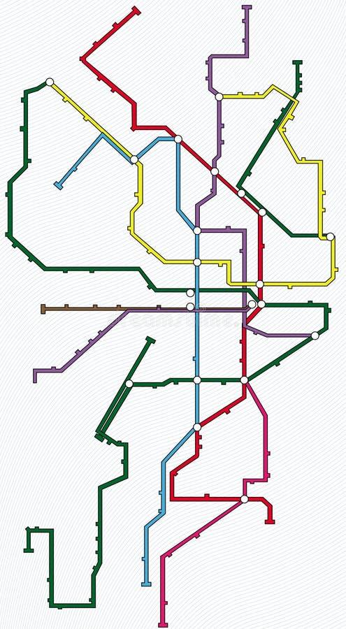 Metro, Untergrundbahn, Untertagekarte lizenzfreie abbildung