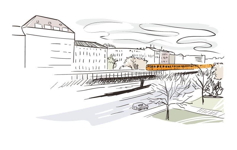 Metro van Berlijn vector het landschapswaterverf van de illustratiestad royalty-vrije illustratie
