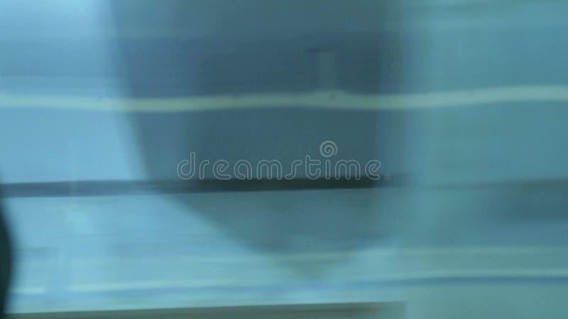 metro visa fönstret stock video
