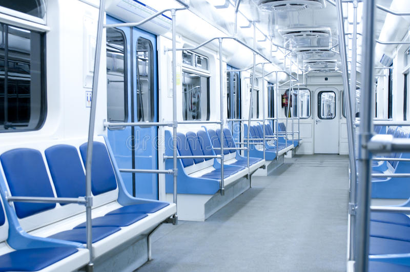 Metro wagon interior. With bright light stock photography
