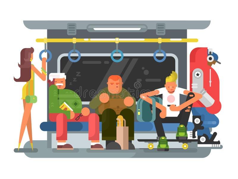Metro z ludźmi mężczyzna i kobiety płaski projekt ilustracji