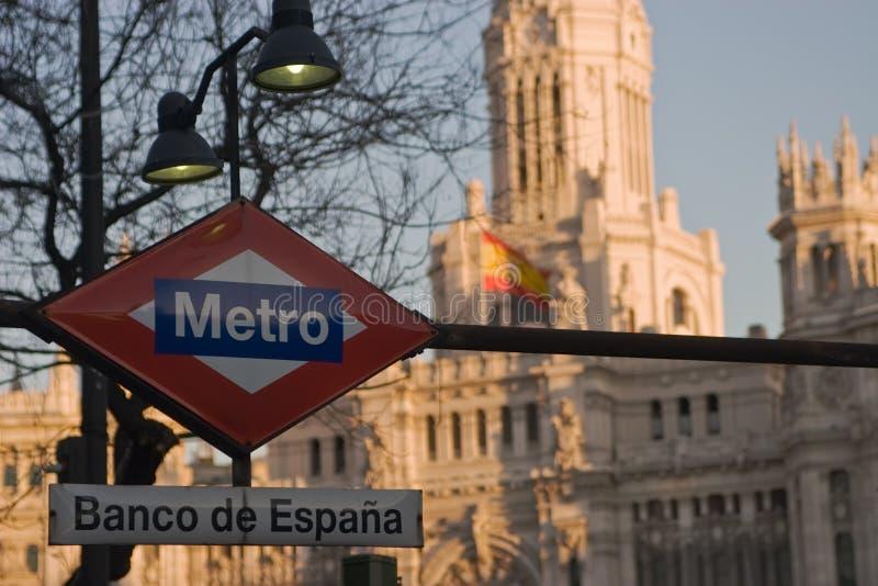 metro znak madryt obraz stock
