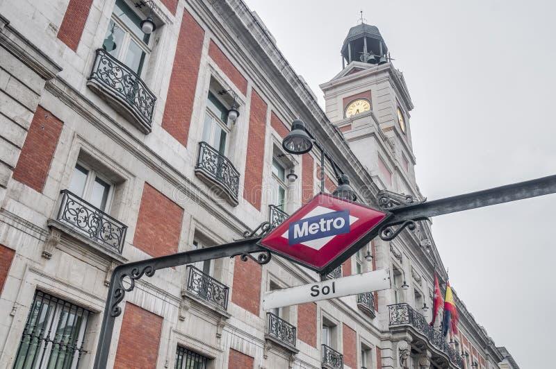 Metro znak przy Madryt, Hiszpania obrazy royalty free