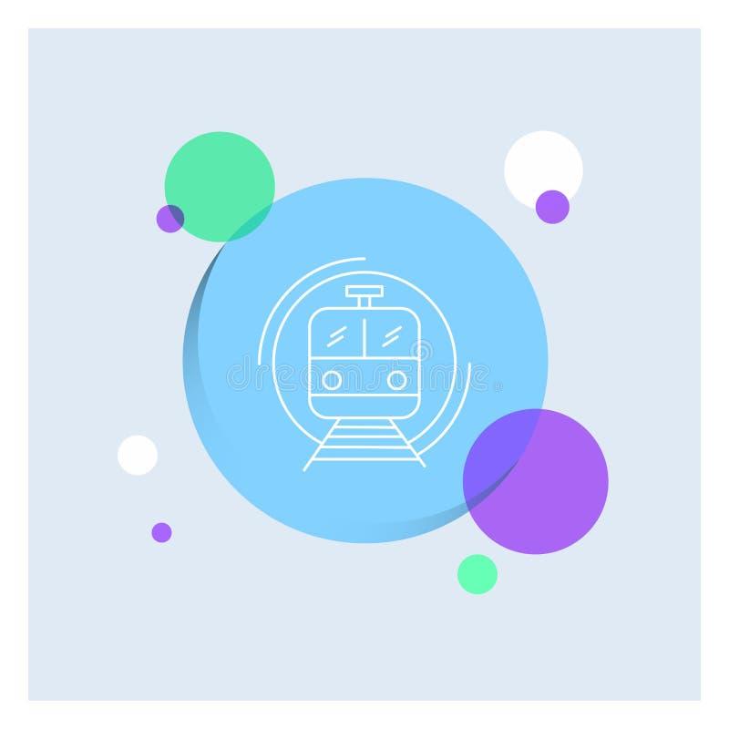 Metro, Zug, intelligent, allgemein, Transport weiße Linie Ikonen-bunter Kreis-Hintergrund lizenzfreie abbildung