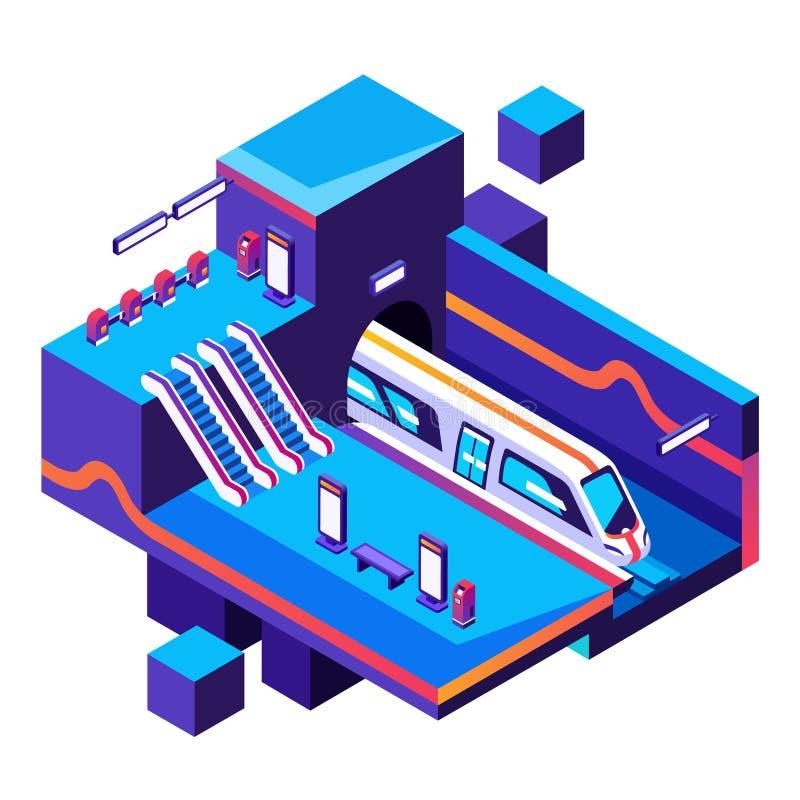 Metrobahnstationsvektor-Querschnittillustration stock abbildung