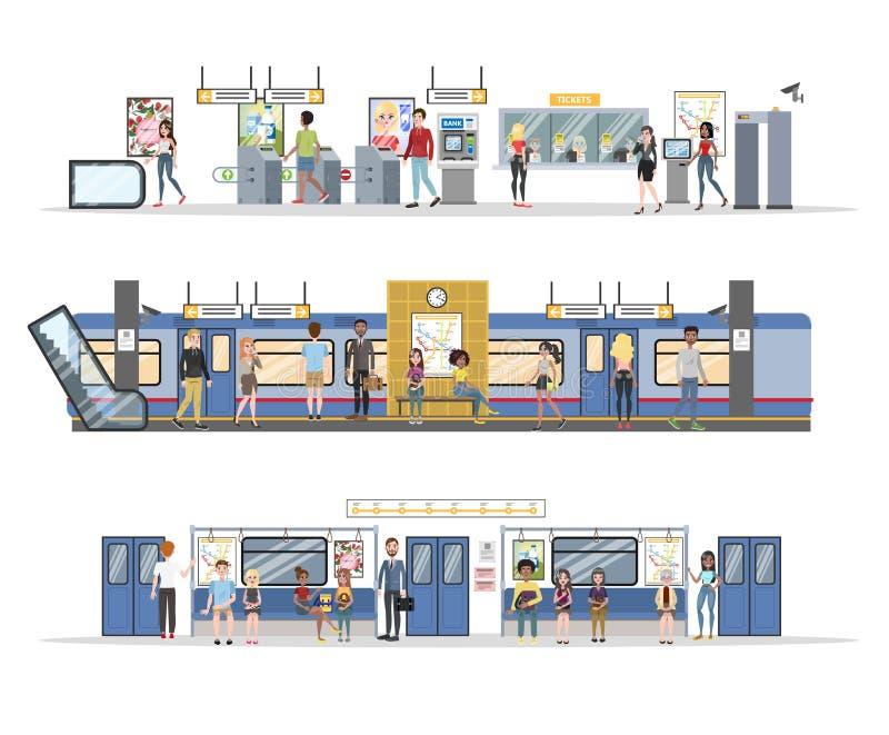 Metrobinnenland met trein en spoorwegreeks vector illustratie