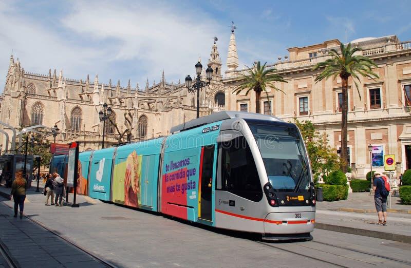 Metrocentro tram in Seville royalty free stock image