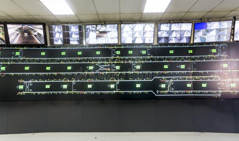 Metrocontrolekamer stock afbeeldingen