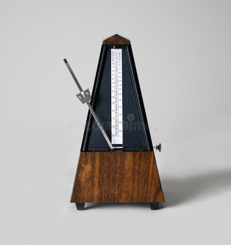 Metronome in action, closeup, and on a plain background. Calgary, Alberta, Canada stock photography