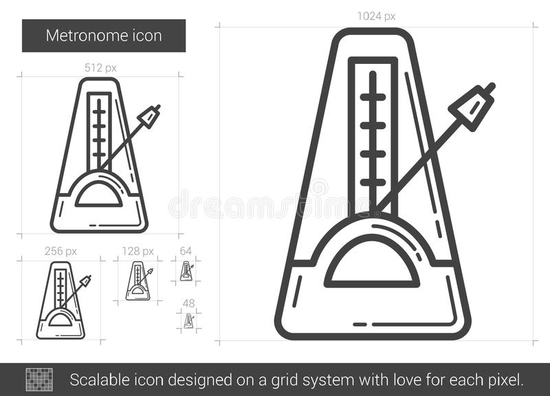Metronome line icon. Metronome vector line icon isolated on white background. Metronome line icon for infographic, website or app. Scalable icon designed on a royalty free illustration