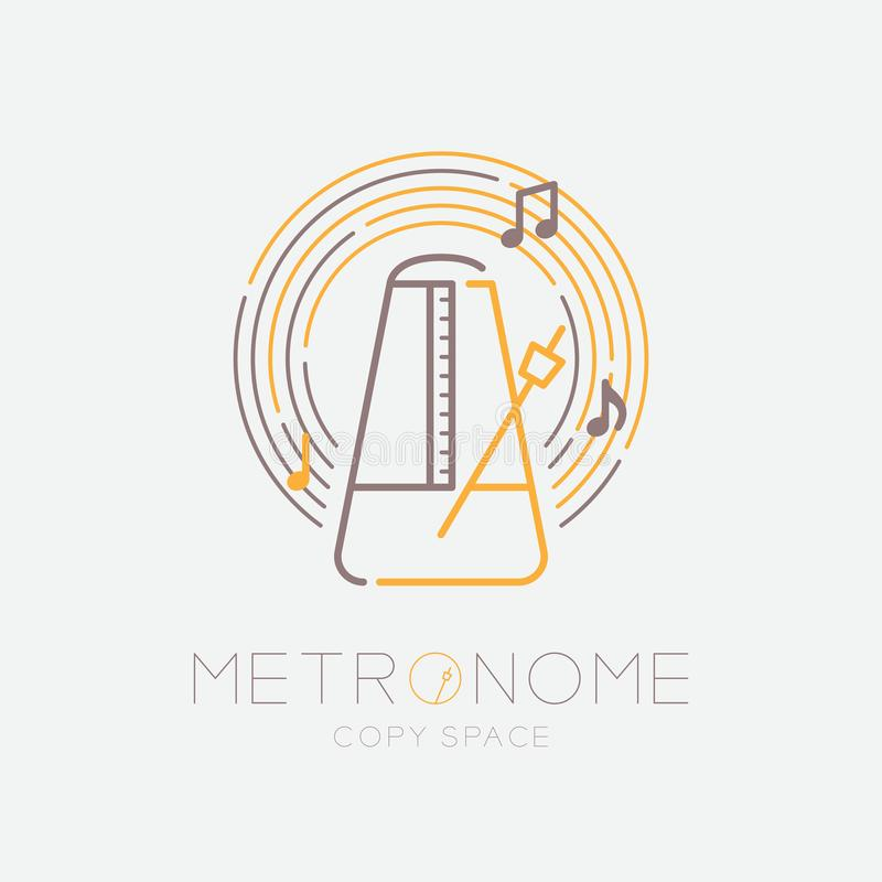 Metronome, music note with line staff circle shape logo icon outline stroke set dash line design illustration isolated on grey. Background with metronome text vector illustration