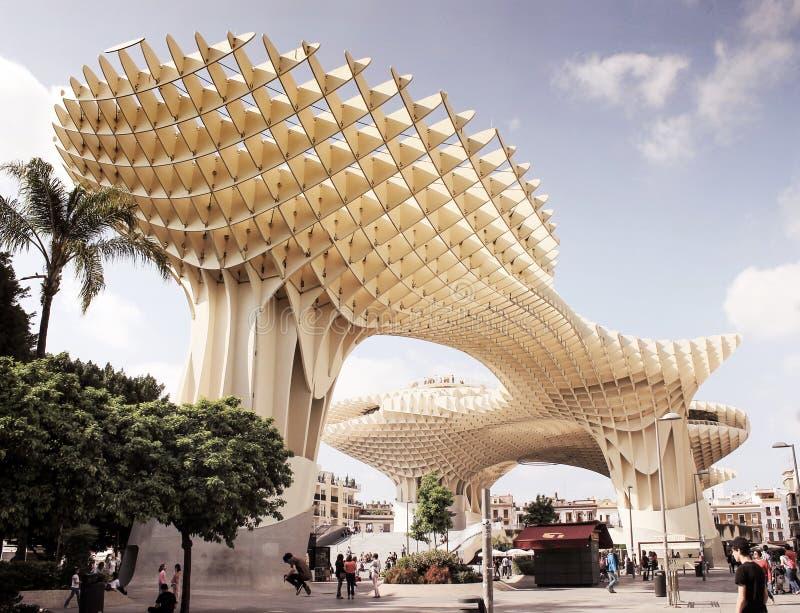 Metropol遮阳伞大木现代architecure结构 塞维利亚,西班牙,安大路西亚 免版税图库摄影