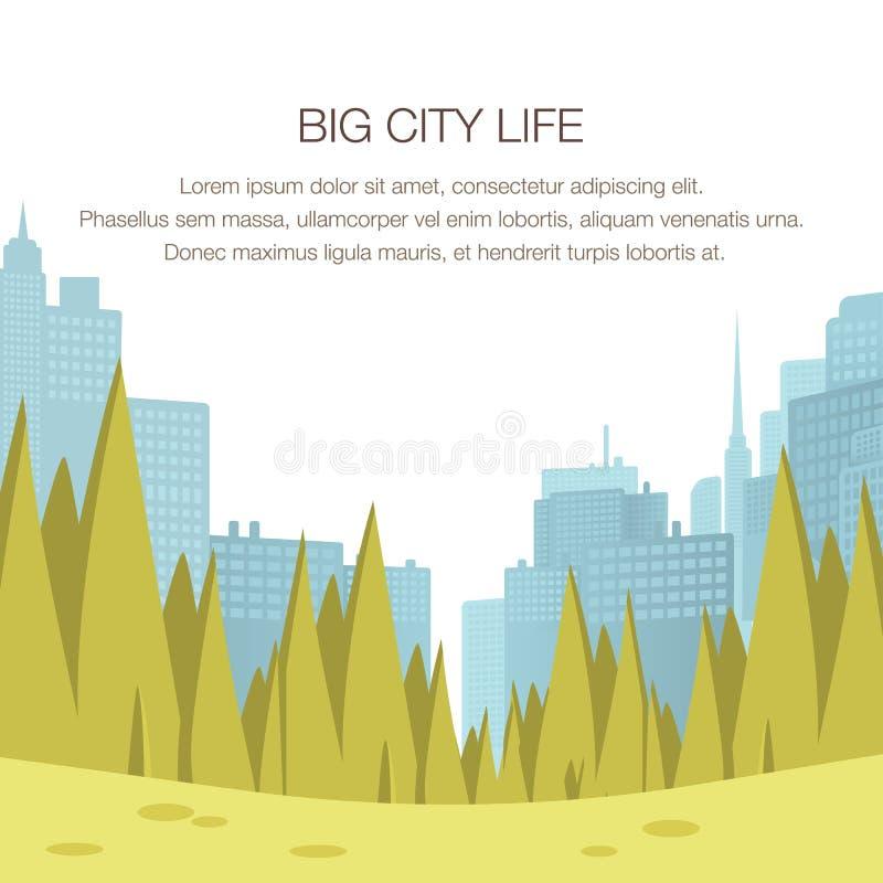 Metropoli del centro del parco della città di panorama di vista grande illustrazione vettoriale
