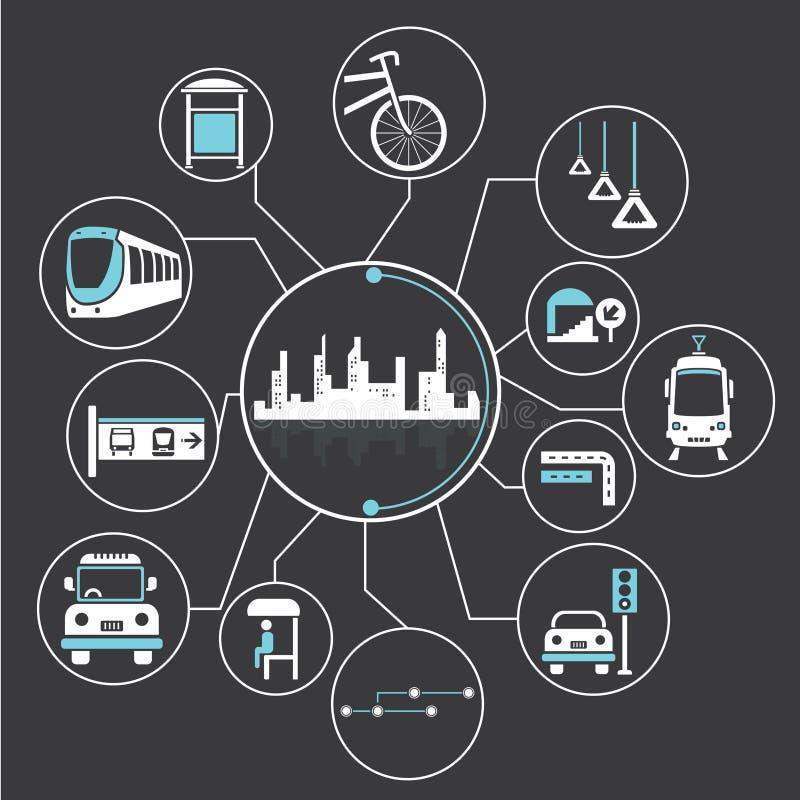 Metropolia i jawny transport royalty ilustracja