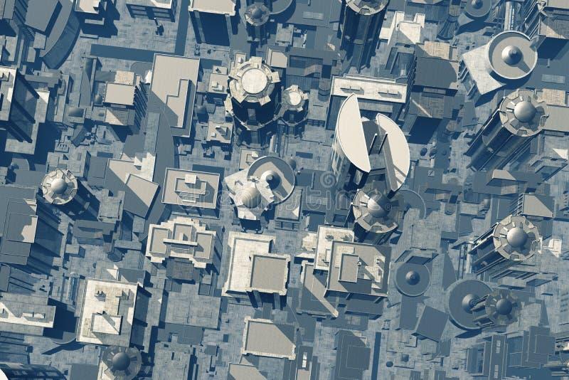 Metropolis 3D render. Skyscrapers in a city stock illustration