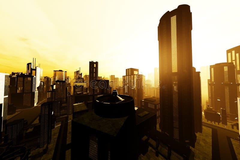 Metropolis 3D render. Skyscrapers in a city royalty free illustration