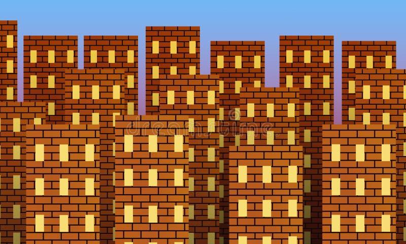 Metropolis av byggnader för röd tegelsten på soluppgång royaltyfri illustrationer