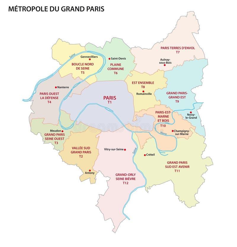 Metropolis av större Paris administrativ och politisk vektoröversikt royaltyfri illustrationer