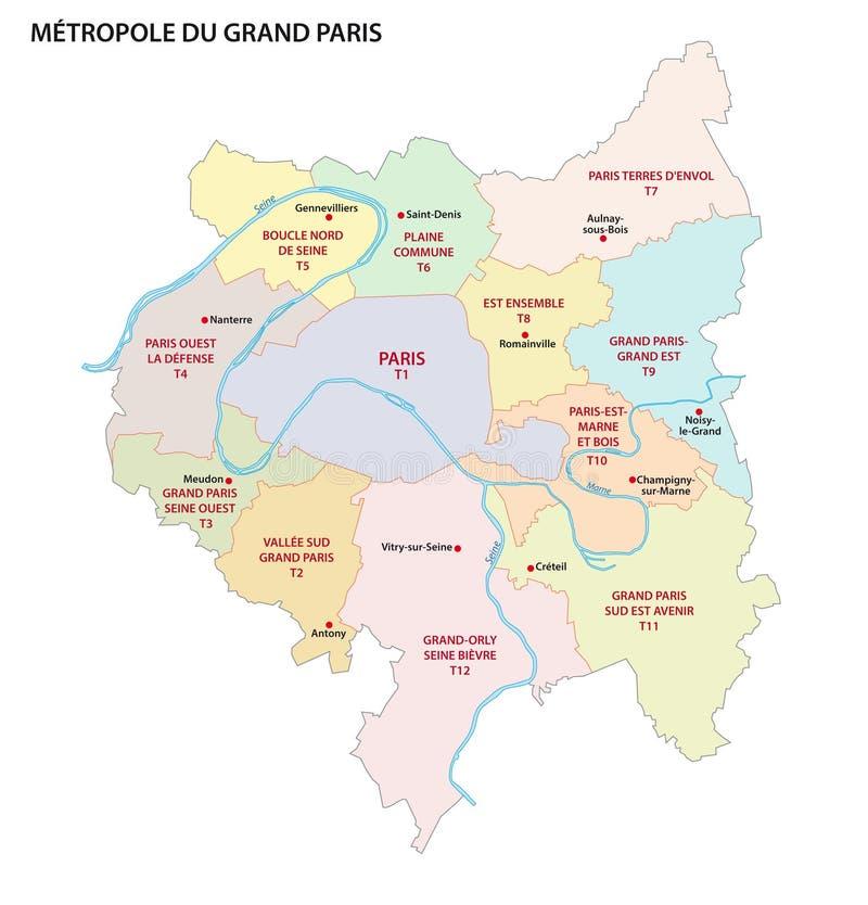 Metropolis av större Paris administrativ och politisk vektoröversikt, Frankrike stock illustrationer
