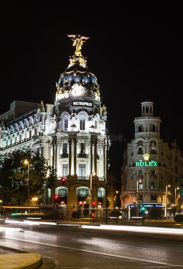 Metropolis building in Gran Via street, in Madrid stock photo
