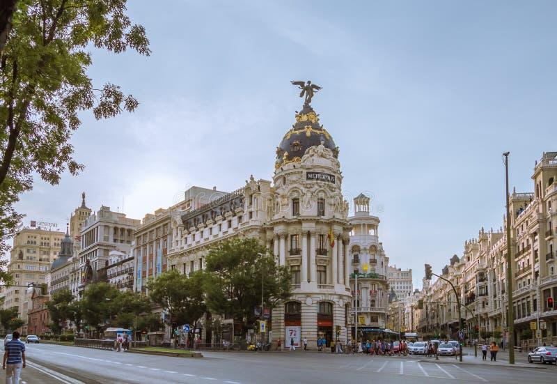 Metropolis building in Gran Via street, in Madrid stock photos