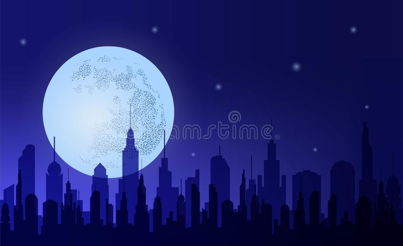 metropolis Citt? di notte della siluetta contro il cielo e la luna del fondo illustrazione vettoriale
