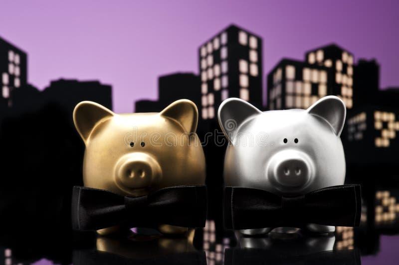 Metropolis City gay piggy bank civil union. A close up stock photography