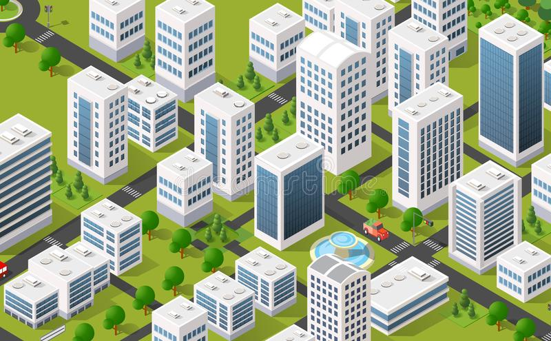 Metropolis city quarter with. Isometric 3D metropolis city quarter with streets, skyscrapers, trees and houses. Urban landscape top view vector illustration