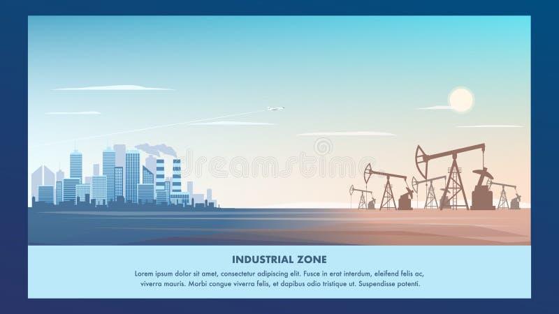 Metropolis för industriell zon för banerillustration royaltyfri illustrationer