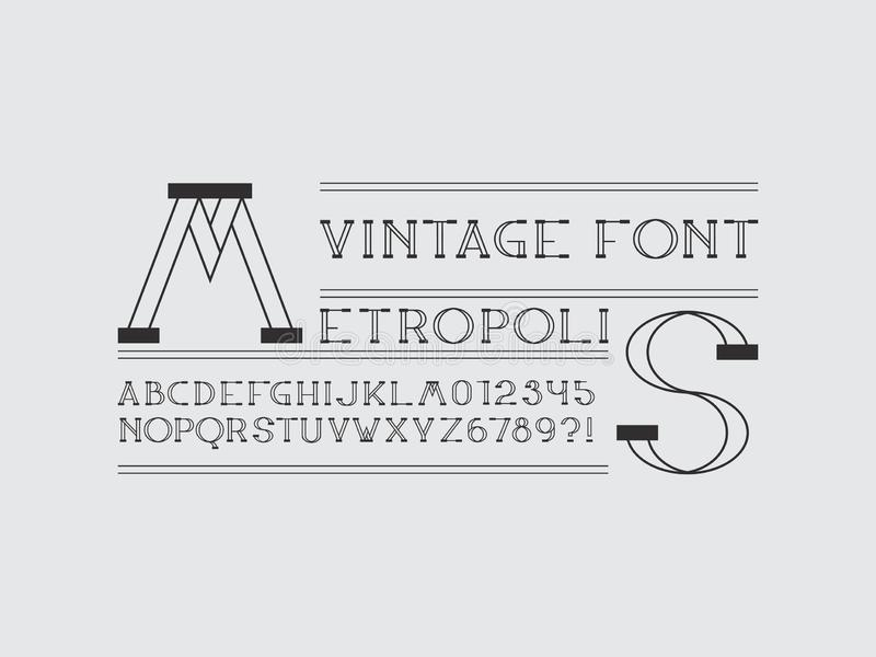 Metropolis font. Vector. Alphabet letters and numbers. Typeface design. Typography Graphic stock illustration