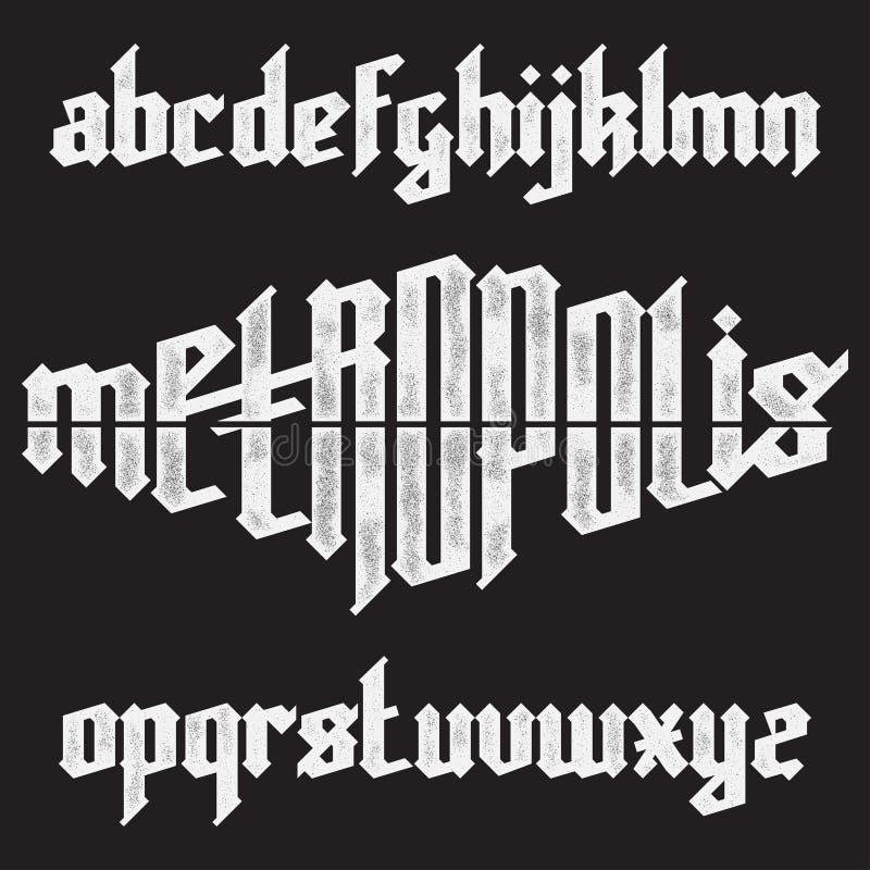 Metropolis gothic font. Metropolis modern custom gothic alphabet font. Trendy blue color vector font set vector illustration