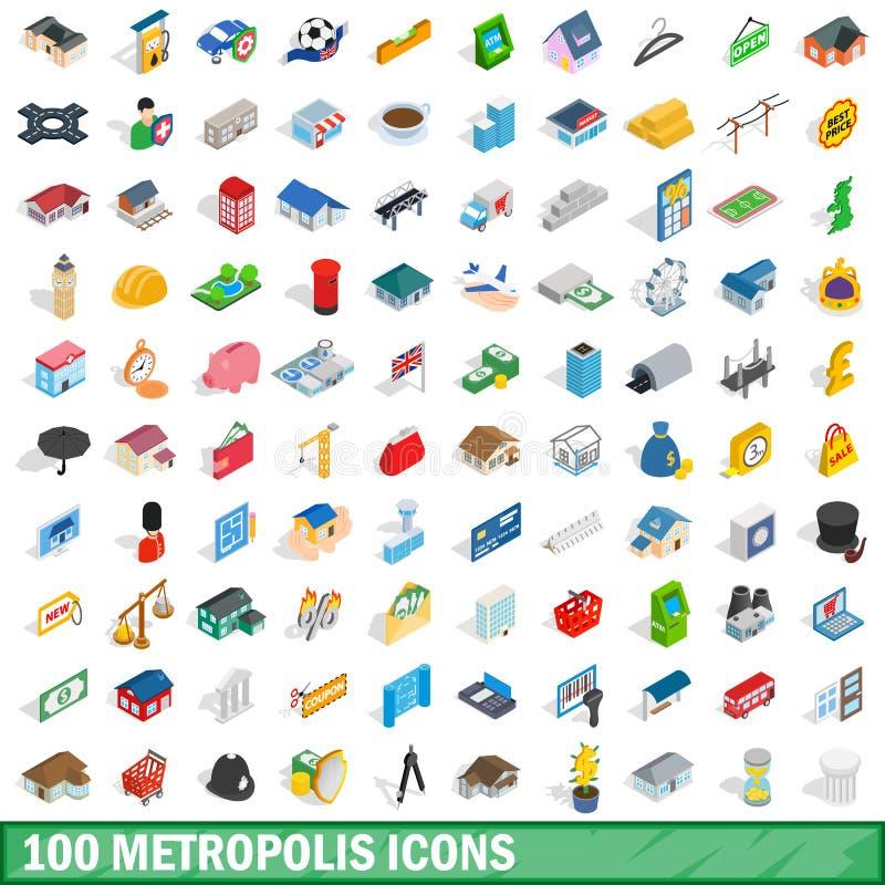 100 metropolis icons set, isometric 3d style. 100 metropolis icons set in isometric 3d style for any design vector illustration stock illustration
