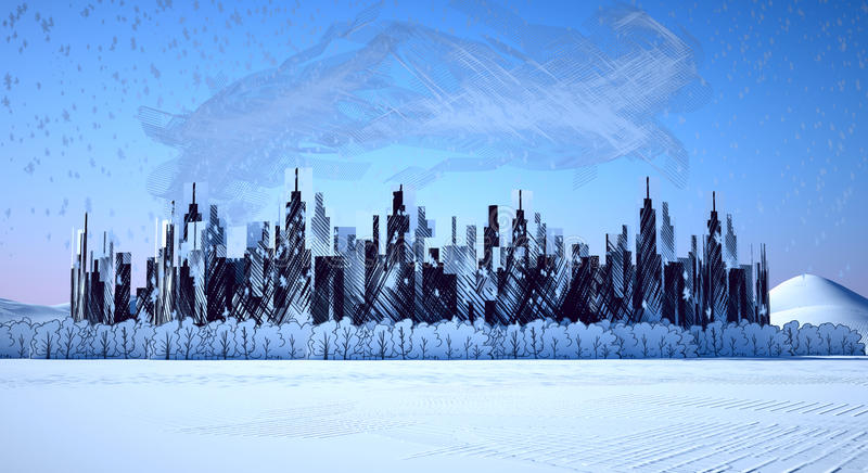 Metropolis Industrial Snow Royalty Free Stock Photography
