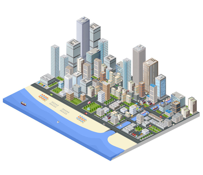 Metropolis isometric. Isometric city. Skyscrapers, houses and streets in the metropolis isometric view stock illustration