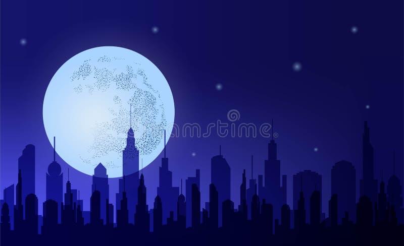 metropolis Konturnattstad mot den bakgrundshimlen och månen vektor illustrationer