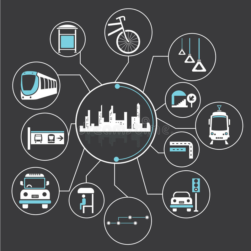 Metropolis and public transit. Mind mapping, info graphic royalty free illustration