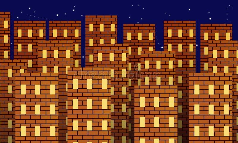 Metropolis of red brick buildings at night. Metropolis of red brick buildings at night with stars and illuminated street lights stock illustration
