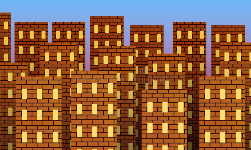 Metropolis of red brick buildings at sunrise. Metropolis of red brick buildings at sunrise with illuminated windows royalty free illustration