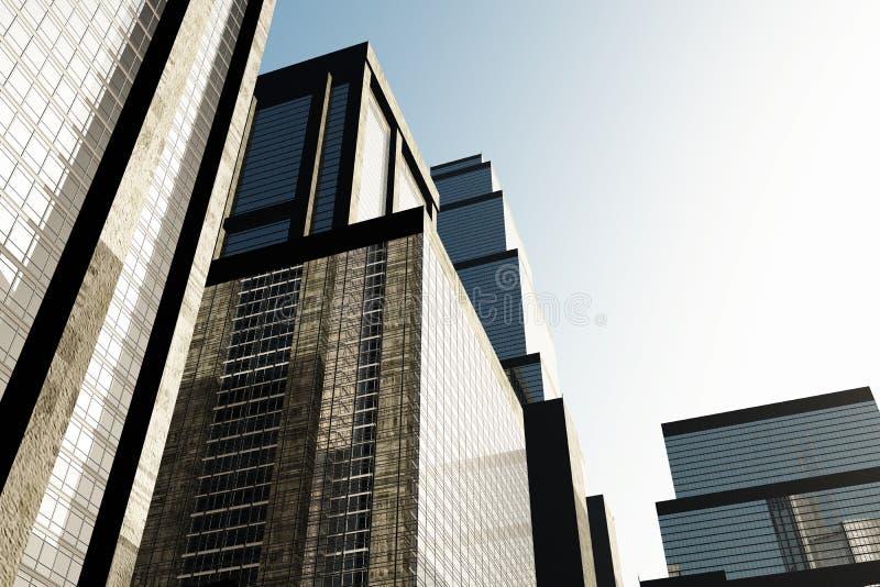 Metropolis skyscrapesrs 3D render 03. Metropolis skyscrapesrs 3D render smoggy poluted vector illustration