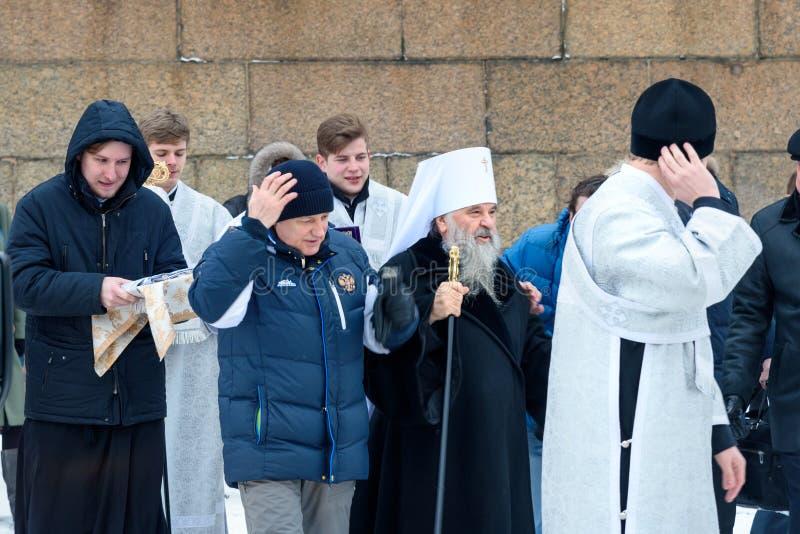 Metropolita Varsonofy St Petersburg i Ladoga z innymi ludźmi Rosja obrazy stock