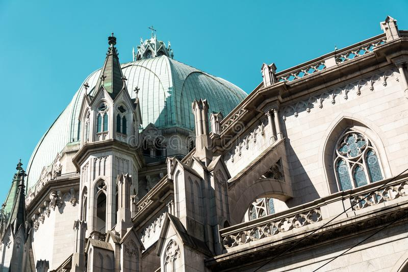 Metropolitaans Sao Paulo Cathedral, in Sao Paulo, Brazilië stock foto