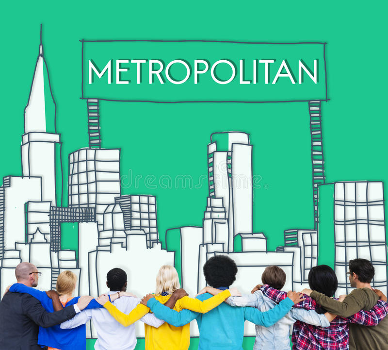 Metropolitaans Stads Stedelijk Democratie Geavanceerd Concept royalty-vrije stock afbeelding