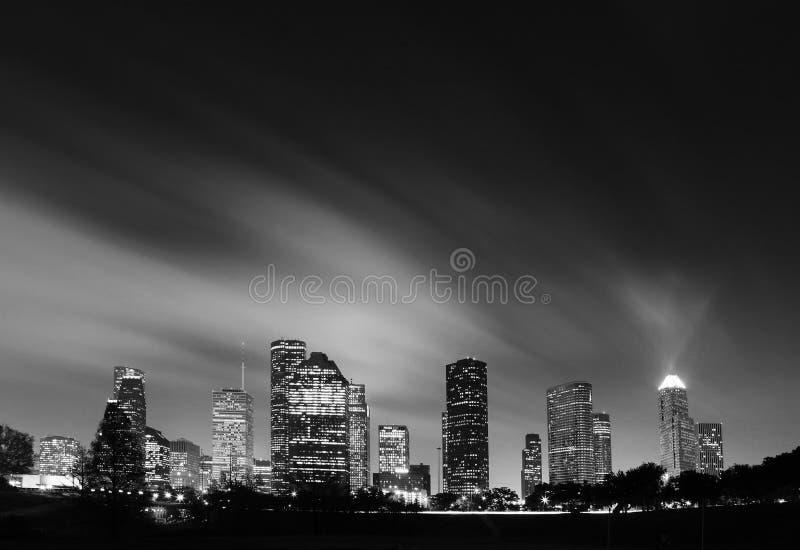 Metropolitaanse Horizon bij Nacht - Houston, Texas stock foto