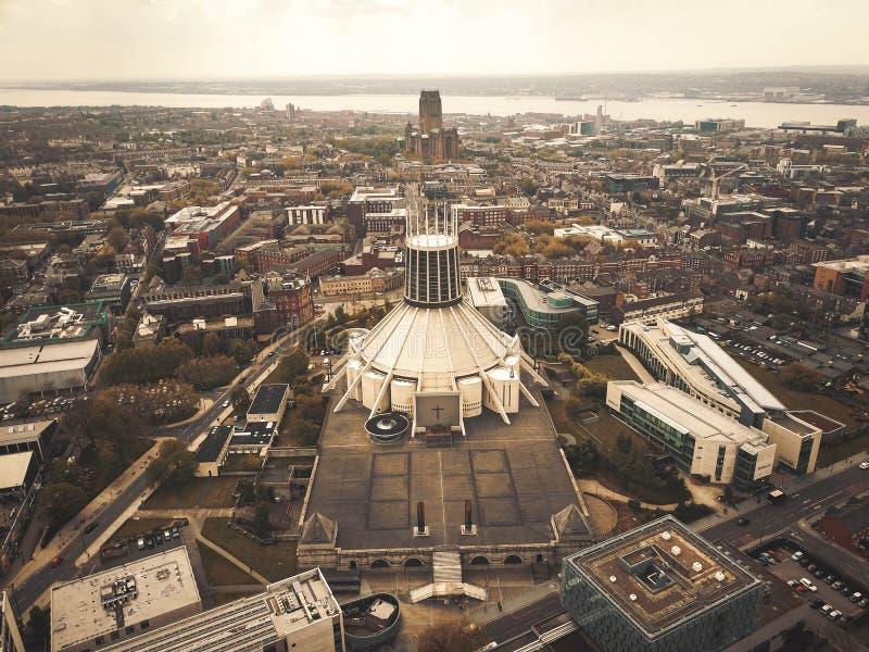 Metropolitaanse Kathedraal van Liverpool van hierboven royalty-vrije stock foto
