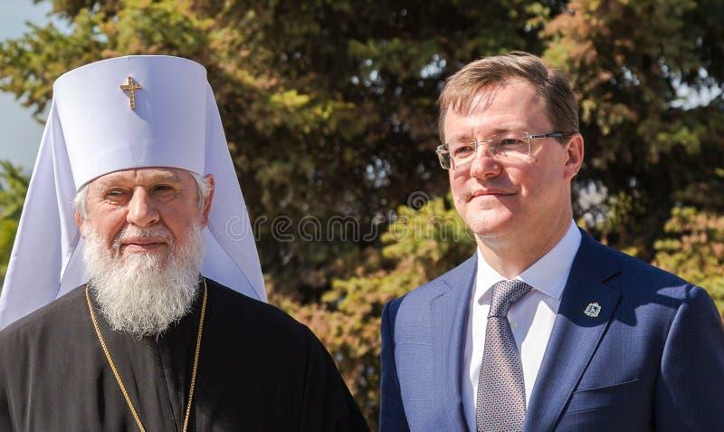 Metropolitaanse Sergius en Gouverneur Dmitry Azarov royalty-vrije stock afbeelding